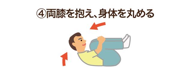 4.両膝を抱え、身体を丸める